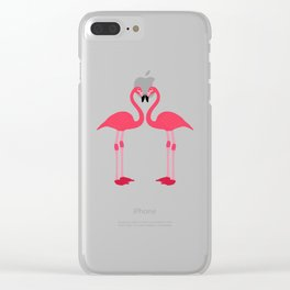 Pink Flamingo Bird Artistic Cute Adorable Animal design Clear iPhone Case