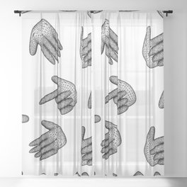 seamless pattern hand signs isolated on white background Sheer Curtain