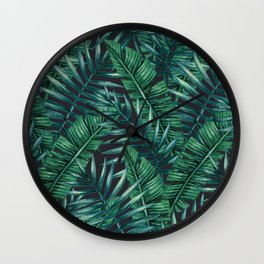 Palm and Banana Leaf Tropical Pattern Wall Clock