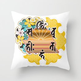 Collaboration between Buddhism and Japanese pattern Throw Pillow