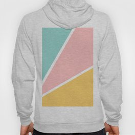 Tropical summer pastel pink turquoise yellow color block geometric pattern Hoody