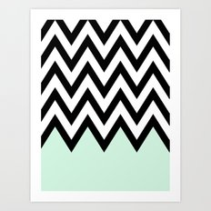 Mint Piece Chevron Art Print