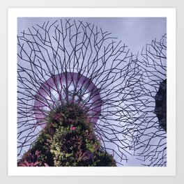 Modern Plant Life & Purple Sky at Singapore's Supertree Grove Art Print
