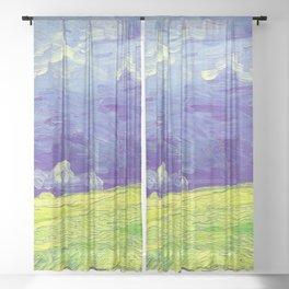 Van Gogh Wheatfields Under Thunderclouds Sheer Curtain