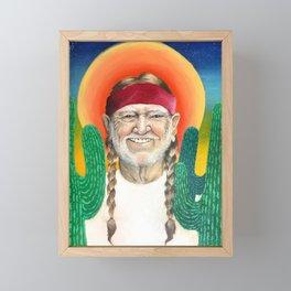 Willie Nelson Sunset Cactus Painting Framed Mini Art Print