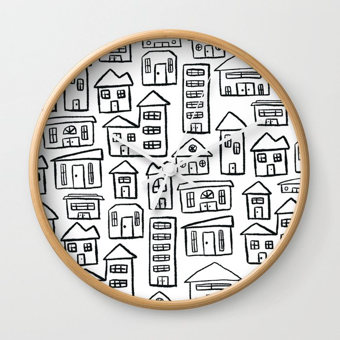 Black and White Houses Wall Clock