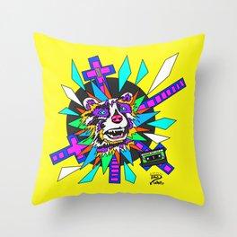 Radical Raccoon 80s Energetic Spirit Animal Pop Art Print Throw Pillow