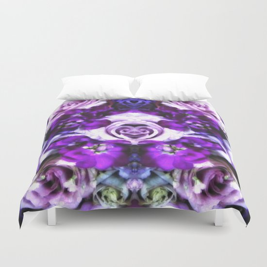 purple pink flowers Duvet Cover