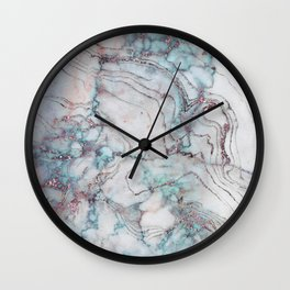 marble blue pink Wall Clock