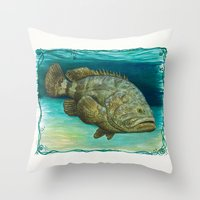 biology Throw Pillows featuring Goliath Grouper ~ Watercolor by Amber Marine
