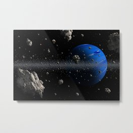 Stars planet asteroid Space 3D Graphics Planets Asteroids Metal Print
