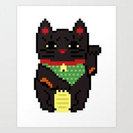 Black Lucky Cat Art Print