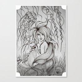 Monochromatic Mermaid Canvas Print