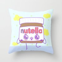nutella Throw Pillows featuring Nutella by grecia colunga