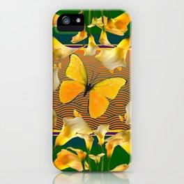 Green Garden Calla Lilies Yellow Butterfly iPhone Case