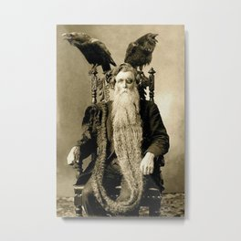 One-eyed Bearded Man with Ravens black and white photograph Metal Print