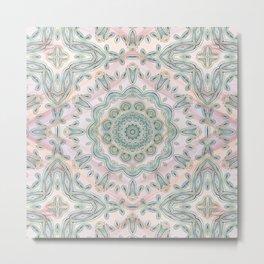 Gentle Blue glass and  Rose quartz  Kaleidoscope Mandala Metal Print