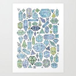 Magical Crystals - Illustration Pattern Art Print