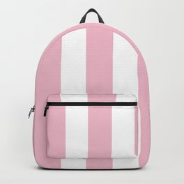 Orchid pink - solid color - white vertical lines pattern Backpack
