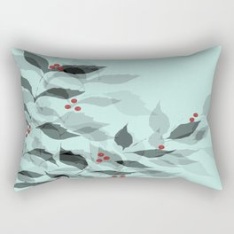 Leaves with Christmas Berries Rectangular Pillow