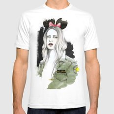 Army Girl MEDIUM White Mens Fitted Tee