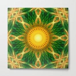 Solar Growth Mandala Metal Print