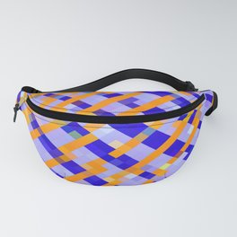 geometric pixel square pattern abstract background in orange blue purple Fanny Pack