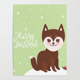 Merry Christmas New Year's card design funny brown husky dog, Kawaii face Poster