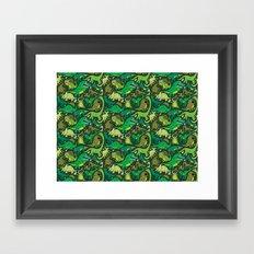 Dino Pattern Framed Art Print