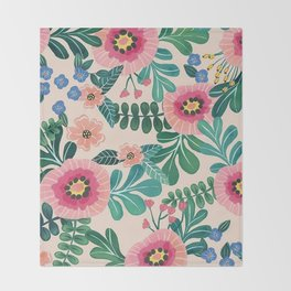 Colorful Tropical Vintage Flowers Abstract Throw Blanket