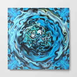 Aqua Swirl Topography Metal Print