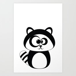 Cute Funny Raccoon Art Print