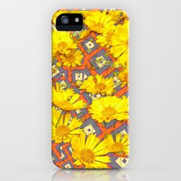Golden Yellow Blooming Coreopsis Flowers Modern Art iPhone Case