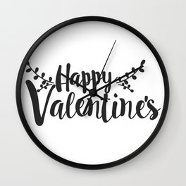 Hand Lettering Happy Valentines Wall Clock