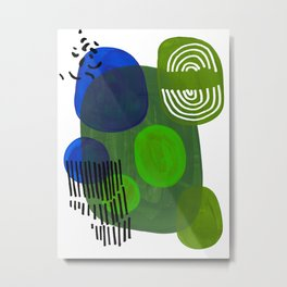 Modern Mid Century Fun Colorful Abstract Minimalist Painting Shapes & Patterns Swamp Monster Greens Metal Print