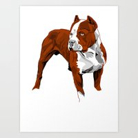 pitbull Art Prints featuring Pitbull by Styleuniversal