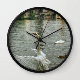 The swan dance on the Vltava river Wall Clock