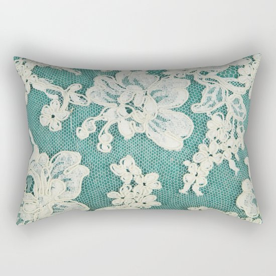 white lace - photo of vintage white lace Rectangular Pillow