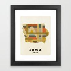 Iowa state map modern Framed Art Print