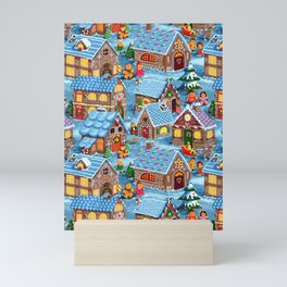 Gingerbread Village on Christmas Eve Mini Art Print
