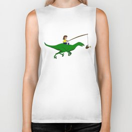 Walking my dinosaur Biker Tank