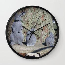 Stone Bunny Family Wall Clock