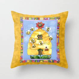 Busy Bees with Border Throw Pillow