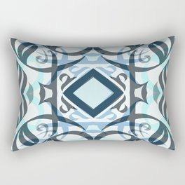 Abstract Calligraphy in Blue Rectangular Pillow