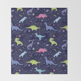 Dinosaurs in Space Throw Blanket