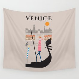 Venice - In the City  - Retro Travel Poster Design Wall Tapestry