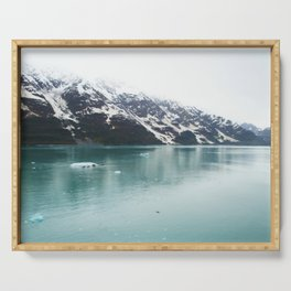Hubbard Glacier Snowy Mountains Alaska Wilderness Serving Tray