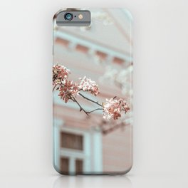 PINK FLOWERS IN SHALLOW FOCUS SHOT iPhone Case
