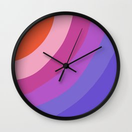 Purple Rainbow Waves Wall Clock