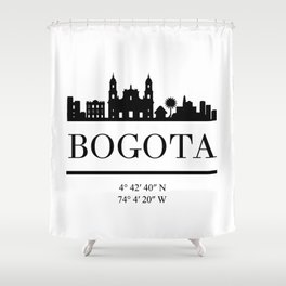 BOGOTA COLOMBIA BLACK SILHOUETTE SKYLINE ART Shower Curtain